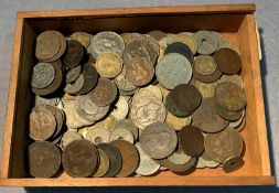 Contents to cigar box - French franc and centime coins,