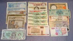 Various European bank notes - France,