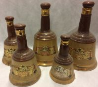5 x assorted sized Wade porcelain Bell's Old Scotch whisky decanters - no contents