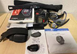 4 x assorted sports watches - A Garmin FR60 sports watch and foot pod cadence sensor,