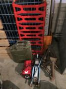 4 x axle stands (2 x incomplete), 2 tonne hydraulic trolley jack, Radex 12 volt starter charger,