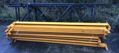 Lightweight metal pallet racking to include five end sections (4 x brown, 1 x blue) each 220 x 80,