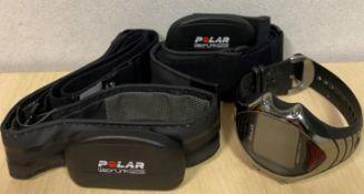 A Polar RS800 CE PTE Multisport/triathlon watch and 2 Polar WearLink w.i.n.