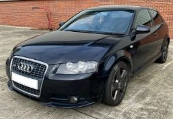 SEIZED VEHICLE: AUDI A3 S LINE 3 DOOR COUPE - diesel - black - black leather interior Reg No: KU57