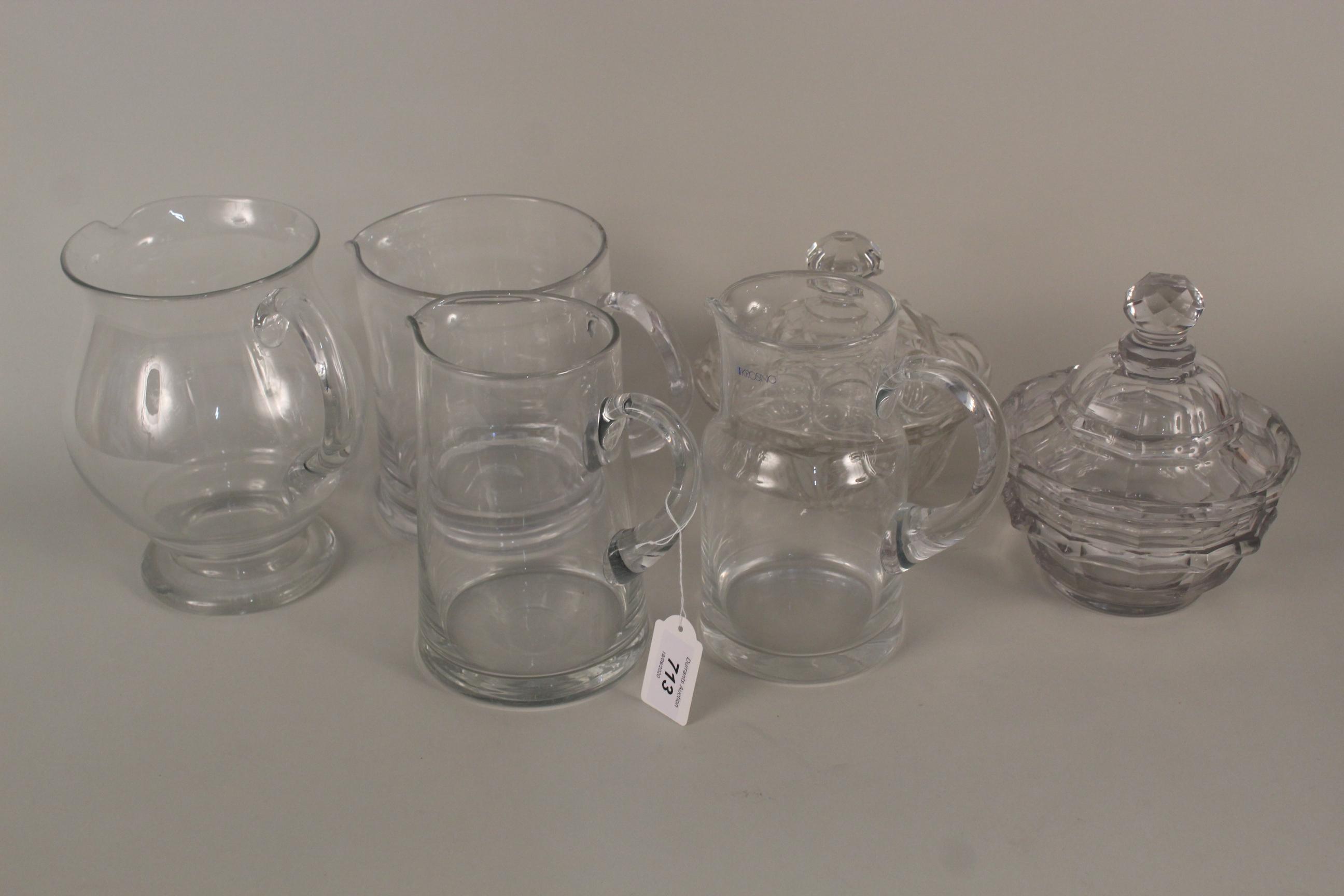 Lot 713 - Six cut glass items, two Victorian hand cut jugs,