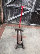 Trolley jack, red. Stored near Gorleston, Norfolk No VAT on this item.