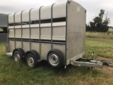Ifor Williams livestock trailer, 12ft long, twin axle, new spare wheel, extra high,