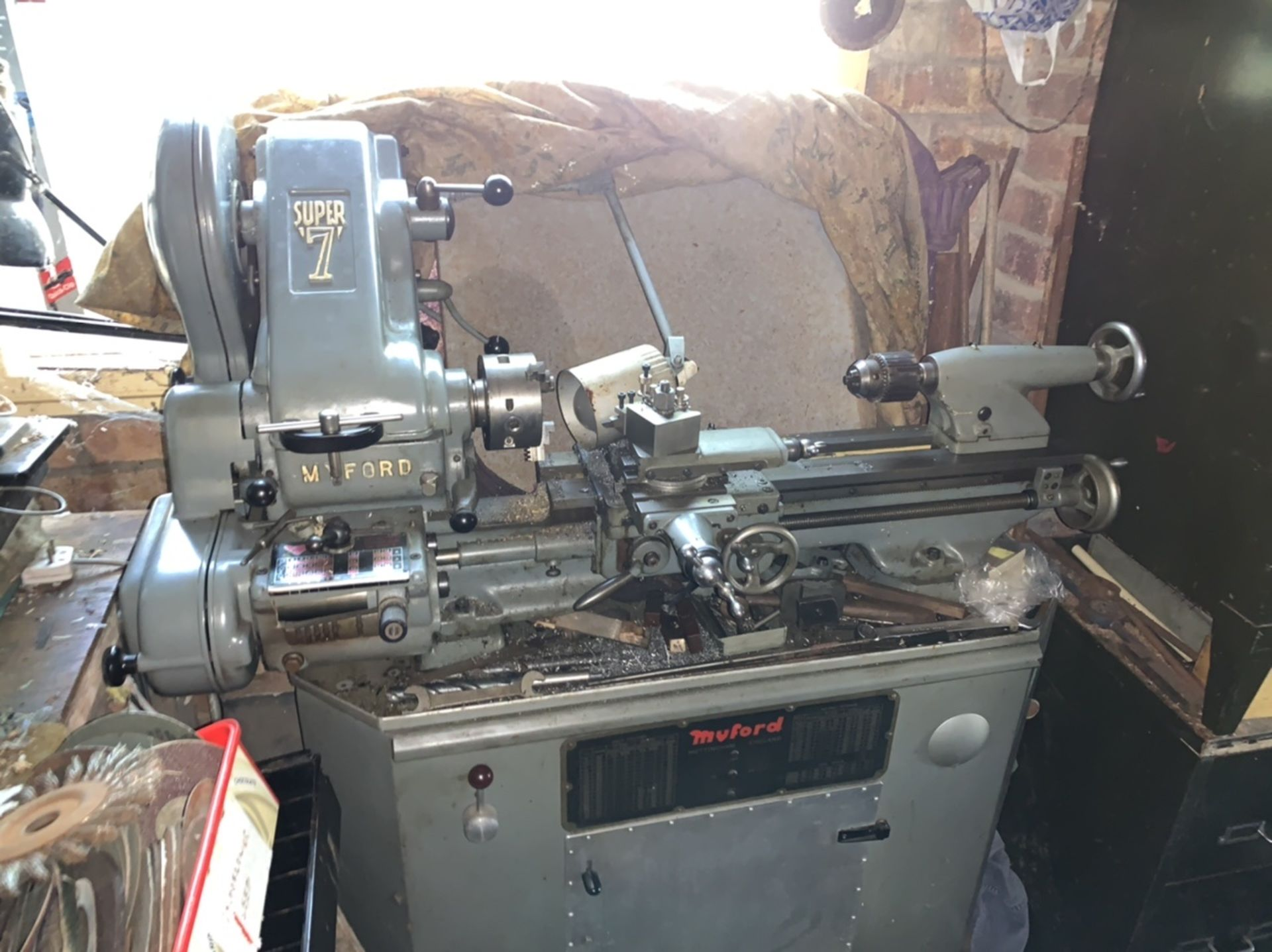 Lot 38 - Myford Super 7 lathe. PAT test failed - needs to be reflexed.