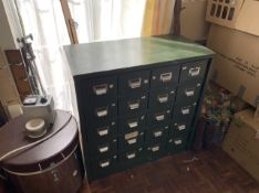 20 drawer metal cabinet. Stored near Gorleston, Norfolk. No VAT on this item.