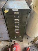 9 drawer metal cabinet. Stored near Gorleston, Norfolk. No VAT on this item.