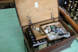 An early 19th Century oak box containing a large quantity of mineral samples