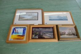 "Two framed watercolours of seascapes, an oil on board ""Winters Afternoon,"