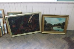 A framed abstract oil with applied string decoration plus a framed oil on canvas of a lake and