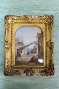 A 19th Century oil on board of a mountain village scene with figures, in a swept gilt frame,