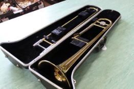 An Elkhart trombone in case