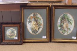A pair of framed watercolours of a barn owl and a tawny owl plus a snipe,