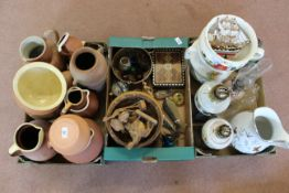 A box of terracotta jugs, three oil lamps, a large water jug, a box containing wooden bowl,
