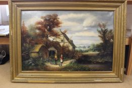 A large framed oil painting in gilt frame of a rural scene with shepherd, signed W K Cooper 77,