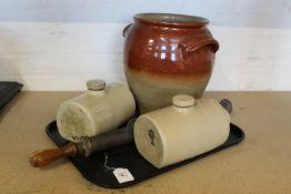 A large stoneware jar,
