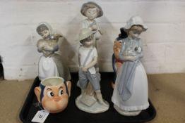 Four Lladro Nao figurines plus two Goebel monkey figures