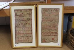 Two framed samplers, both by Mary Ann Fishburn, one dated 1839, West Leake,