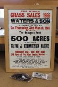 A framed auction poster for Waters & Son of East Norfolk Grass Sales 1966 plus photos of prize