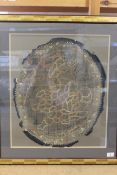 An oval silk map of England and Wales by Mary Ann Hunt 1798, mounted and framed,
