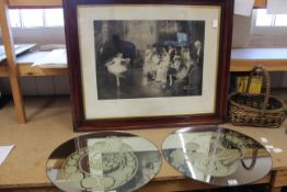 A pair of round wall mirrors with etched decoration and a large framed late 19th Century black and