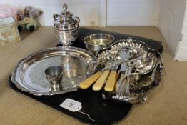 Mixed silver plated items including a tray, swing handle basket,
