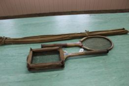 Two vintage tennis rackets plus a three piece vintage coarse fishing rod by Allcock & Co
