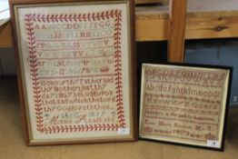 A framed alphabet sampler by Emily Maria Sandalls May 12th 1873 plus one other with verse by Minnie
