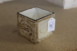 A Troika cube vase marked to the base, Cornwall with initials SK,