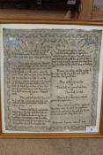 A framed sampler of biblical quotes by Frediswed Symons, July 1780,