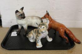 A Beswick fox and Siamese cat plus a Russian USSR tiger