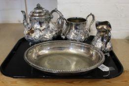 A Victorian silver plated three piece tea service, Joseph Deakin & Sons,