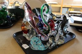 Various glass animals figures and paperweights