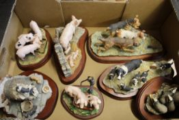 Various Border Fine Art animal figure groups including pigs,