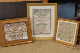 Three small framed samplers, Maria Juryson aged 13 1845,
