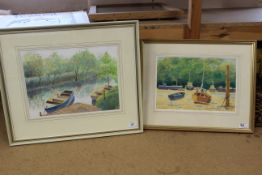 Two framed watercolours, 'Waiting for the Tide' and 'Early Morning Glover River Norfolk',