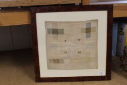 A framed sampler showing variations in stitch techniques, A W 1784,