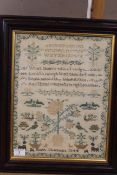 A mid 19th Century sampler with verse, floral and bird motifs by Eliza Chapman 1844,