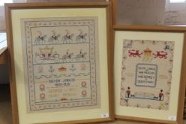 Two framed Silver Jubilee samplers for George V and Queen Mary 1910-1935