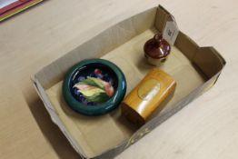 A Moorcroft small pin dish bearing blue signature,