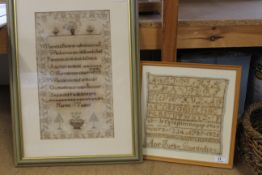 A 19th Century sampler with verse by Harriet Tucker plus an alphabet sampler by Ann Furby