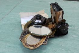 A selection of Art pottery pieces plus a wood framed hand mirror and French prints