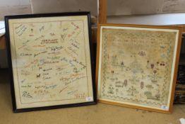 A framed sampler of flowers and birds,