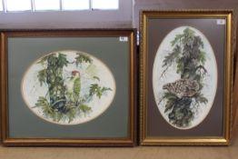 Two framed watercolours in oval mounts,