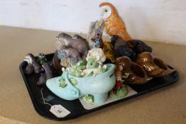 Various Border Fine Art figures, ceramic birds,