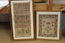 A framed sampler by Margaret Harley aged 9 plus another by Emma Rance
