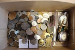 A box containing mixed coins, medallions etc,